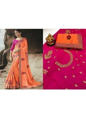 Orange Rangoli Designer Traditional Saree