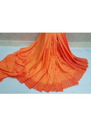 Orange Reniya Cutwork Traditional Makhan Malai Silk Saree