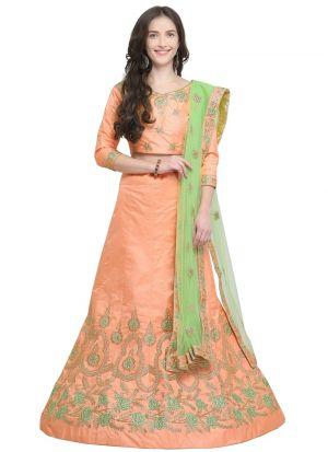 Orange Silk Indian Wedding Lehenga Choli