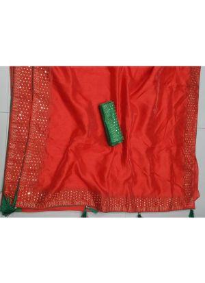Orange Silk Latest Designer Saree