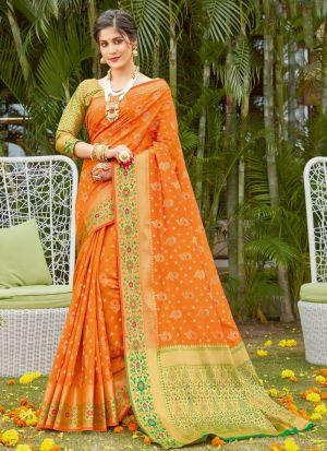 Orange Silk Traditional Wear Saree