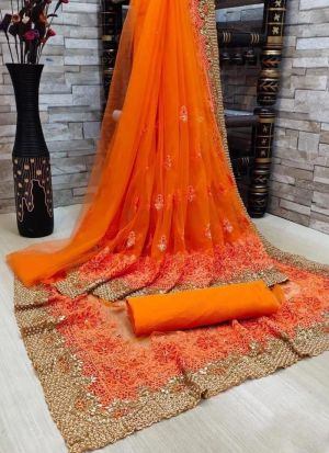 Orange Thread Embroidery Work Saree