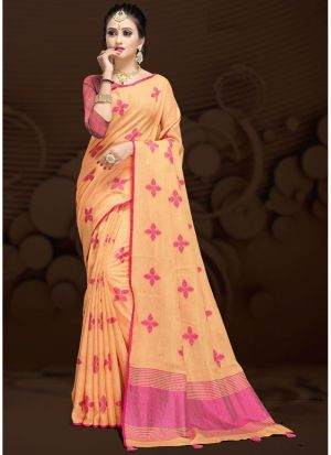 Orange Traditional Wear Saree In Cotton Silk Fabric