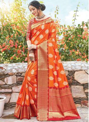 Orange Women Wedding And Partywear Dola Silk Saree