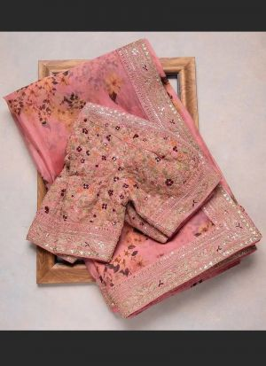 Organza Silk Baby Pink Saree
