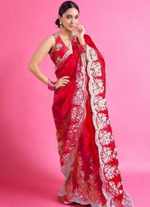 Organza Silk Red Embroidery Saree