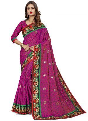 Outstanding Magenta Color Jacquard Net Classic Designer Saree