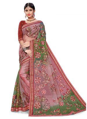 Outstanding Multi Color Bemberg Designer Saree