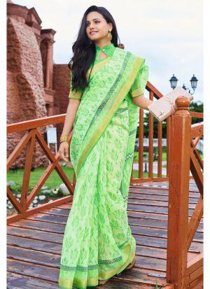 Outstanding Parrot Color Cotton Classic Designer Saree