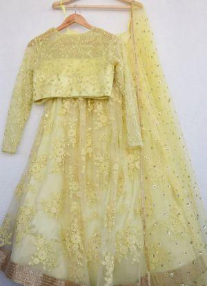 Pale Lime Yellow Party Wear Lehenga