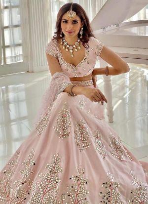 Pale Pink Real Mirror Work Lehenga Choli