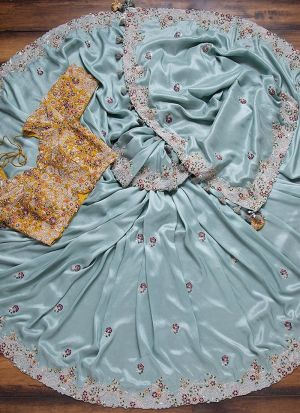 Pale Turquoise Organza Embroidery Saree