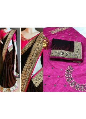 Paper Silk Coffee Designer Traditional Saree