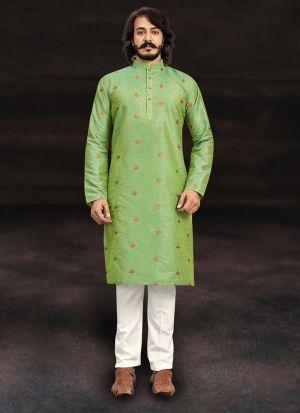Parrot Green Pure Art Silk Kurta Pajama