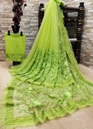 Parrot Green Soft Net Diamond Work Saree
