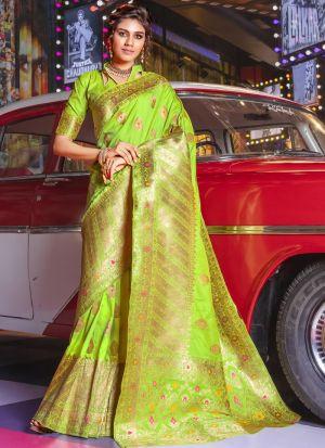 Parrot Jacquard Silk Festive Wear Traditional Saree