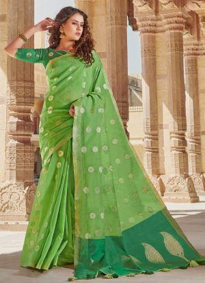 Parrot Linen Cotton Beutiful Wedding Saree