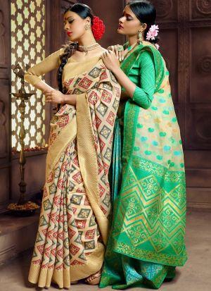 Parrot Pure Banarasi Silk Indian Traditional Saree Collection