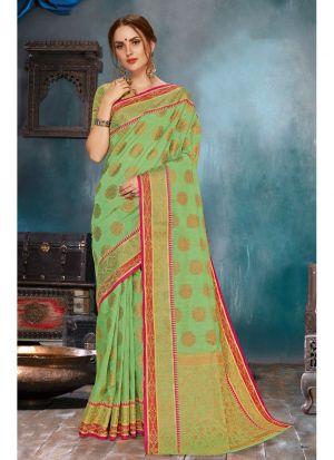 Parrot Soft Linen Silk Festive Wear Traditional Saree