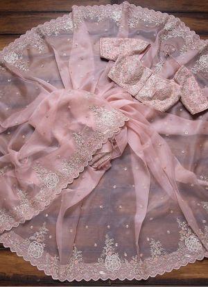 Party Special Baby Pink Organza Silk Saree