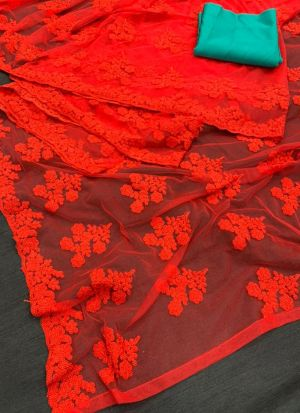 Party Special Red Net Saree
