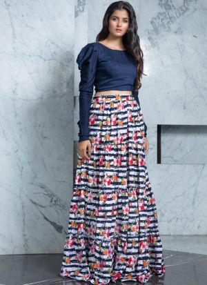 Party Style Rayon Top Multi Color Crepe Lehenga