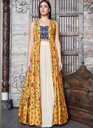 Party Wear Ladies Fancy Yellow Indo Western Lehenga
