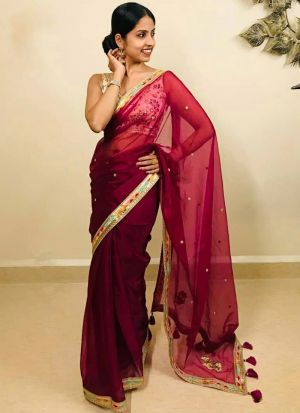 Party Wear Magenta Embroidery Work Saree