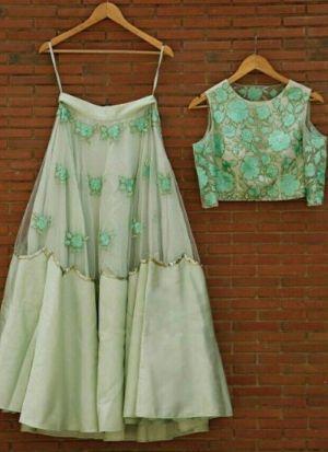 Party Wear Mint Green Net Thread Embroidered Lehenga Choli