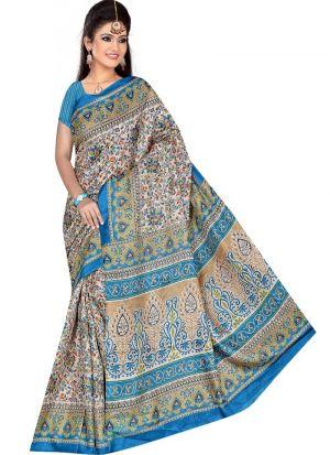 Party Wear Multi Color Printed Rice Silk Saree