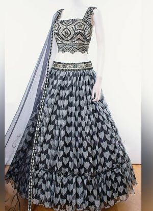Party Wear Multi Digital Printed Georgette Lehenga Choli