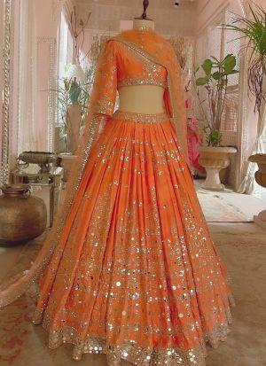 Party Wear Orange Taffeta Silk Lehenga