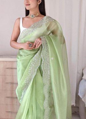 Party Wear Pista Green Thread Work Saree
