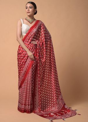 Party Wear Red Digitally Printed Saree