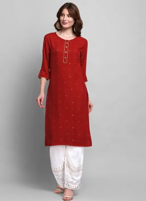 Party Wear Red Foil Print 3-4 Sleeves Kurti