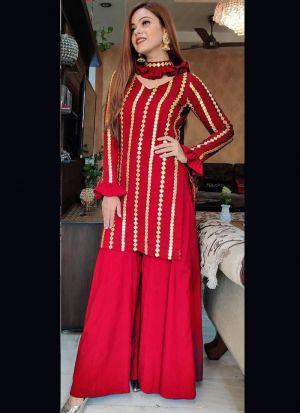 Party Wear Red Georgette Salwar Suit
