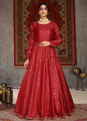 Party Wear Red Taffeta Anarkali Gown