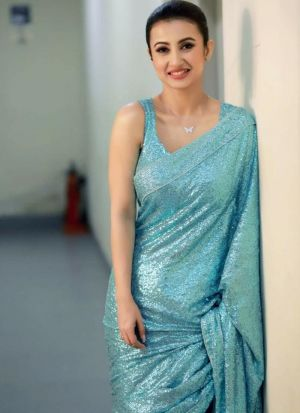 Party Wear Sky Blue Sequence Saree