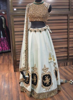 Party Wear White Embroidery Lehenga Choli