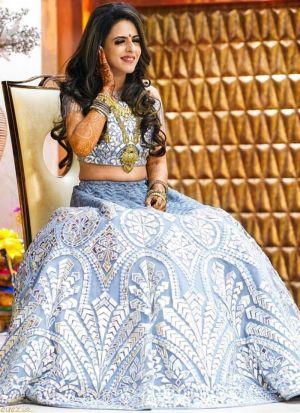 Pastel Blue Net Embroidery Lehenga Choli