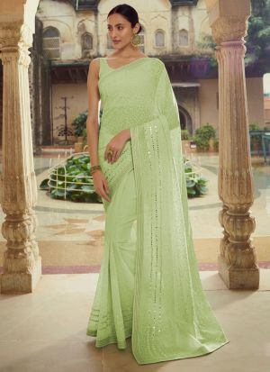 Pastel Green Georgette Saree With Plain Blouse
