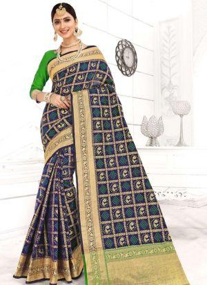 Patola Silk Navy Traditional Wedding Saree Collection