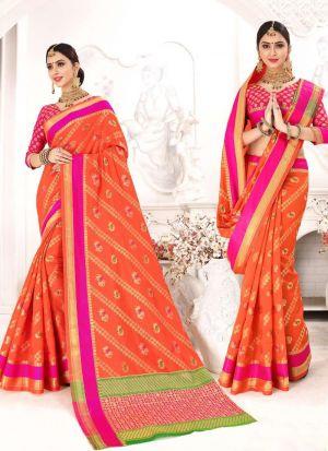 Patola Silk Orange Traditional Designer Saree Collection