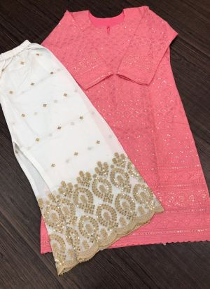 Pc Cotton Light Pink Suit With White Palazzo