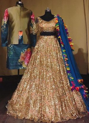 Peach Butterfly Net Lehenga For Party