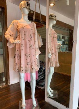Peach Chiffon Printed Trendy Dress