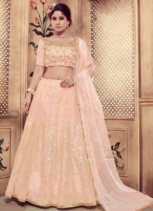 Peach Color Pearl Rubber Foil Work Georgette Designer Lehenga Choli