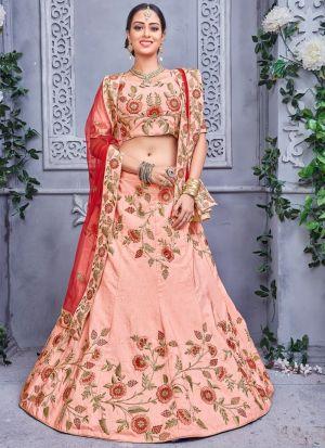 Peach Designer Exclusive Bridal Lehenga Choli