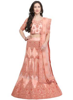 Peach Designer Lehenga Choli For Wedding
