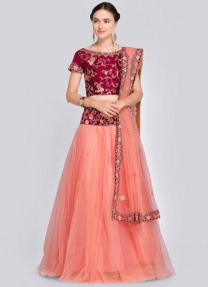 Peach Designer Wedding Lehenga Choli With Net Fabric